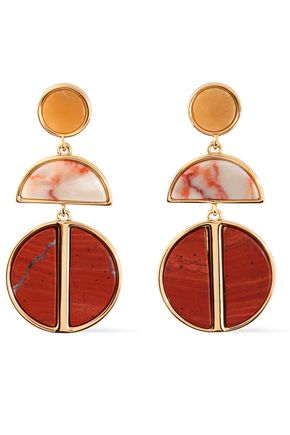 BEN-AMUN Gold-tone agate earrings