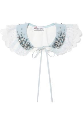 REDValentino Crystal-embellished crepe, point d'esprit and faux leather collar
