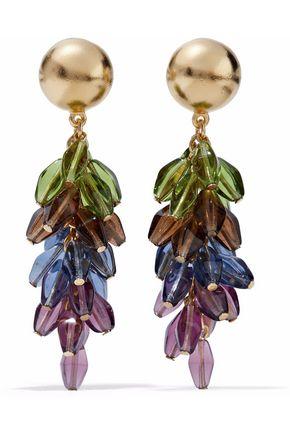 BEN-AMUN Gold-tone multi-stone clip earrings