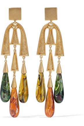 BEN-AMUN Gold-tone resin earrings