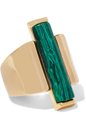BEN-AMUN Gold-tone malachite ring