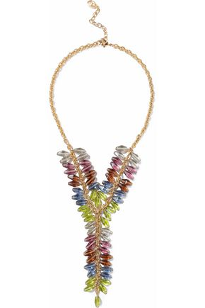 BEN-AMUN Gold-tone multi-stone necklace