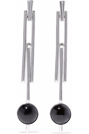 BEN-AMUN Silver-tone stone clip earrings