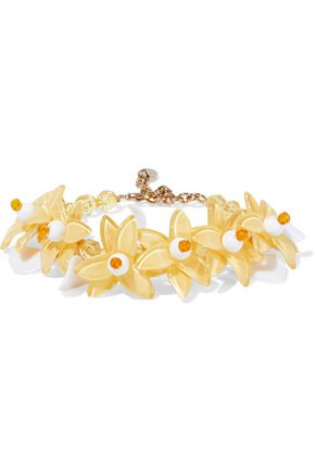 REDValentino Gold-tone, bead and resin bracelet