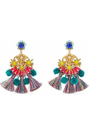 ELIZABETH COLE 24-karat gold-plated, Swarovski crystal, tassel and pompom earrings