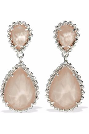 ELIZABETH COLE Silver-tone, Swarovski crystal, and stone earrings