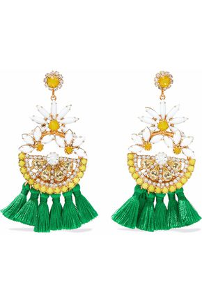 ELIZABETH COLE 24-karat gold-plated, Swarovski crystal and tassel earrings