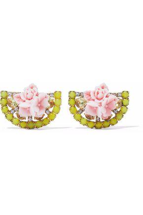 ELIZABETH COLE 24-karat gold-plated, Swarovski crystal and acrylic earrings