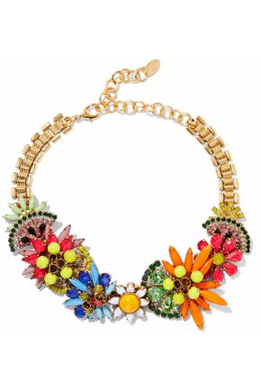 ELIZABETH COLE 24-karat gold-plated, Swarovski crystal and stone necklace