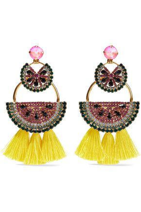 ELIZABETH COLE Gold-tone, crystal and tassel earrings