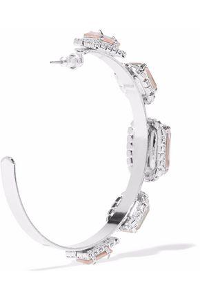 ELIZABETH COLE Silver-tone, Swarovski crystal and stone hoop earrings