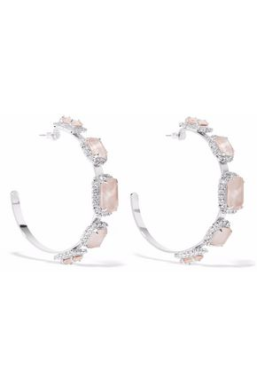 ELIZABETH COLE Silver-tone, Swarovski crystal and stone hoop earrings