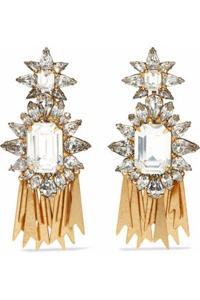 ELIZABETH COLE 24-karat gold-plated Swarovski crystal earrings