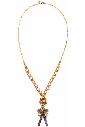ELIZABETH COLE 24-karat gold-plated, Swarovski crystal, faux pearl and stone necklace