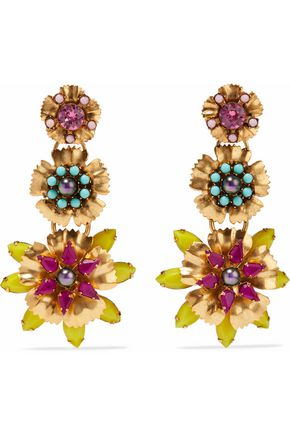ELIZABETH COLE Gold-tone, crystal and bead earrings