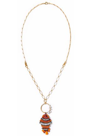 ELIZABETH COLE 24-karat gold-plated, Swarovski crystal, hematite and stone necklace