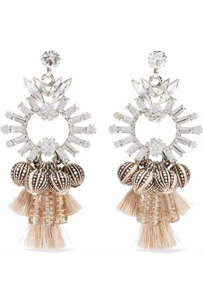 ELIZABETH COLE Silver-tone, crystal, bead and tasseled earrings