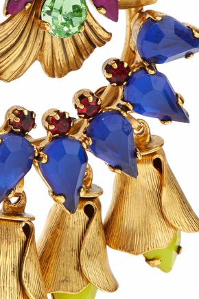 ELIZABETH COLE 24-karat gold-plated, Swarovski crystal and stone earrings