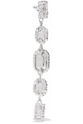 ELIZABETH COLE Silver-tone, Swarovski crystal and stone earrings