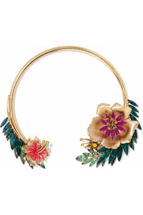 ELIZABETH COLE 24-karat gold-plated, Swarovski crystal and stone choker