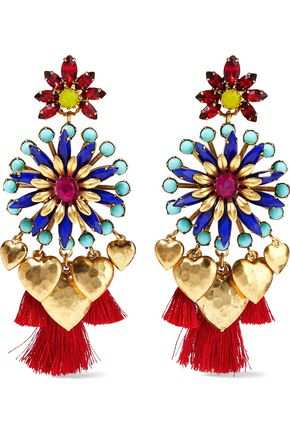 ELIZABETH COLE Gold-tone, crystal, bead and tassel earrings