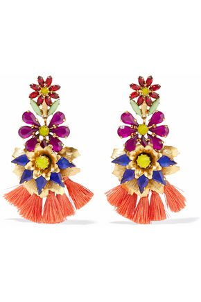 ELIZABETH COLE 24-karat gold-plated, crystal and tassel earrings