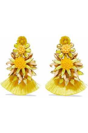 ELIZABETH COLE Gold-plated, crystal, resin and tassel earrings
