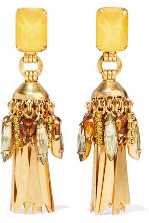 ELIZABETH COLE Gold-plated crystal earrings