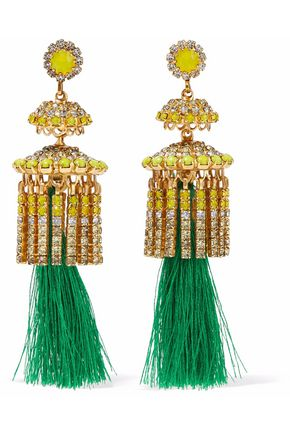 ELIZABETH COLE 24-karat gold-plated, Swarovski crystal, stone and tassel earrings