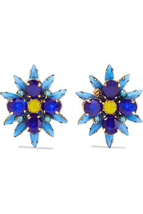 ELIZABETH COLE Crystal, stone and gold-tone clip earrings