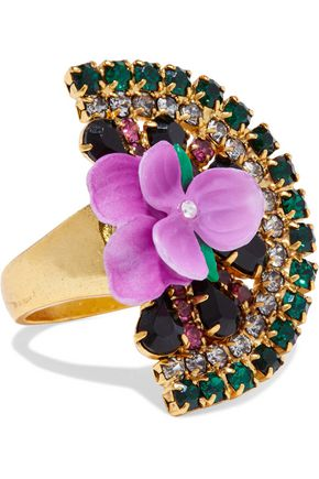ELIZABETH COLE 24-karat gold-plated, crystal and resin ring