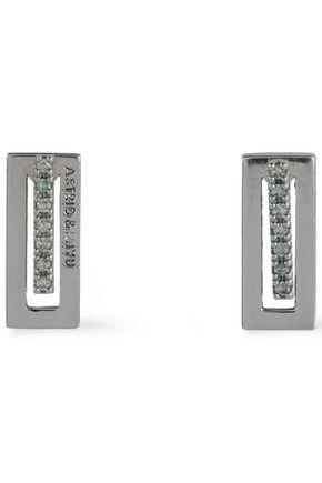 ASTRID & MIYU Rhodium-plated silver-tone crystal earrings