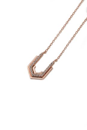 ASTRID & MIYU Fitzgerald Block rose gold-plated crystal necklace