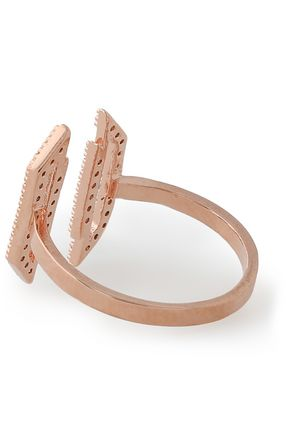 ASTRID & MIYU Fitzgerald Block rose gold-plated crystal ring