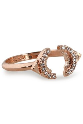 ASTRID & MIYU Fitzgerald Circle 18-karat rose gold-plated zirconium ring