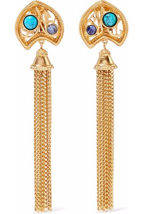 BEN-AMUN Gold-tone, stone and tasseled clip earrings