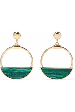 BEN-AMUN Gold-tone malachite hoop earrings
