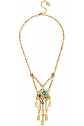 BEN-AMUN Gold-tone cabochon necklace
