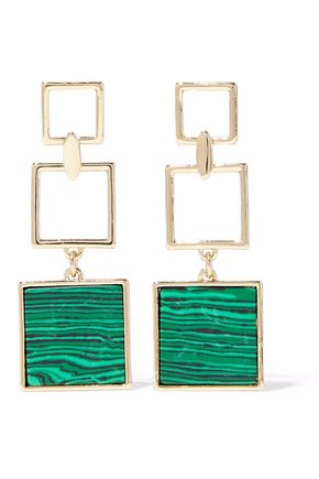 BEN-AMUN Gold-tone malachite earrings