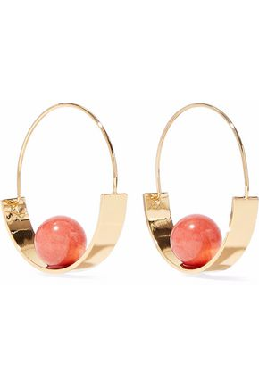 BEN-AMUN Gold-tone stone hoop earrings