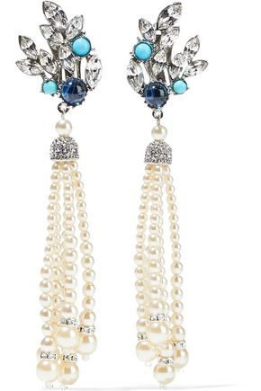 BEN-AMUN Crystal, stone, faux pearl, and silver-tone clip earrings