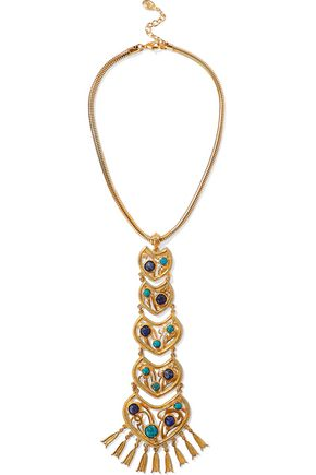 BEN-AMUN Gold-tone stone necklace
