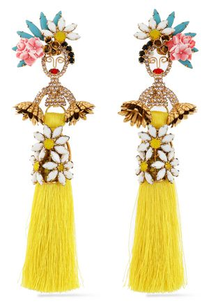 ELIZABETH COLE 24-karat gold-plated, Swarovski crystal, stone, acrylic and tassel earrings