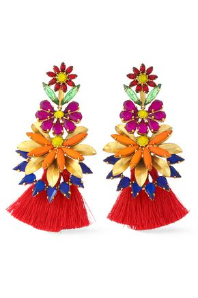 ELIZABETH COLE 24-karat gold-plated, stone, acrylic and tassel earrings