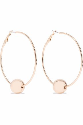 KENNETH JAY LANE Gold-tone beaded hoop earrings