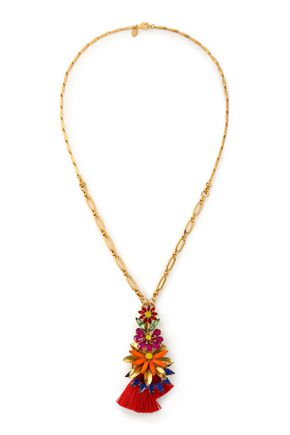 ELIZABETH COLE 24-karat gold-plated, Swarovski crystal, stone and tassel necklace