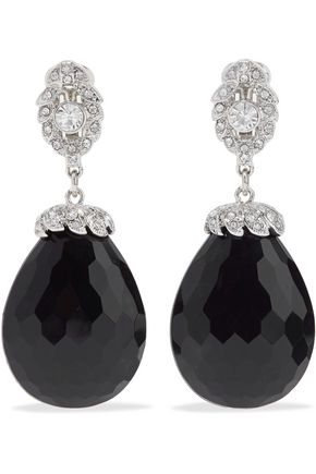 KENNETH JAY LANE Silver-tone, crystal and bead clip earrings