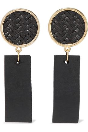 KENNETH JAY LANE Gold-tone, straw and wood earrings