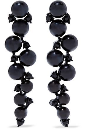 KENNETH JAY LANE Bead, crystal and gunmetal-tone earrings