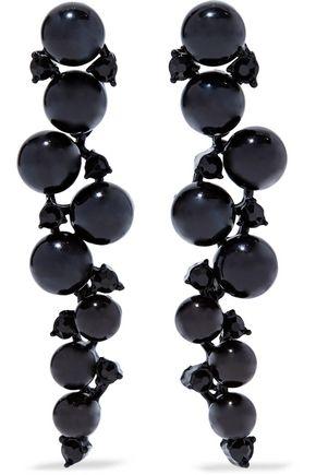 KENNETH JAY LANE Bead, crystal and gunmetal-tone earrings